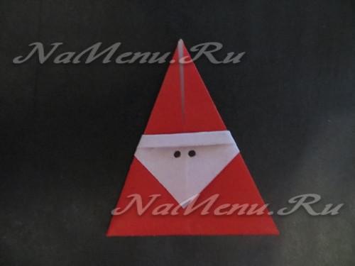 Бумажный Дед Мороз в технике оригами
