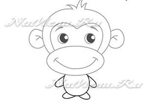 Как нарисовать обезьяну на Новый год