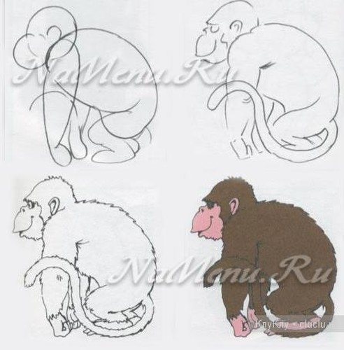 Как нарисовать обезьяну на Новый год своими руками