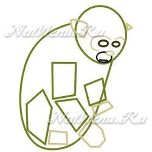 Как нарисовать обезьяну на Новый год схема