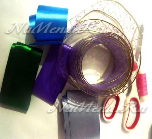 материалы и инструменты для создания бантов на елку