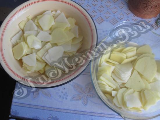 Отдаем половину картофеля в фигуру