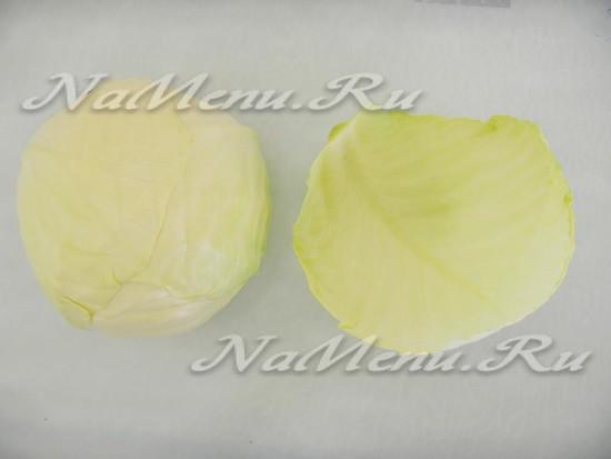 Отделяем листы капусты