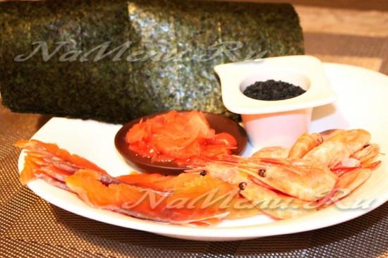 Необходимые продукты для цветы суши