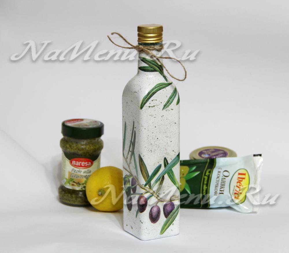 Декор бутылки для масла своими руками
