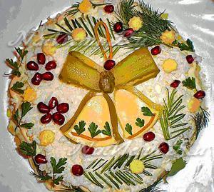 Украшение салатов своими руками на новый год
