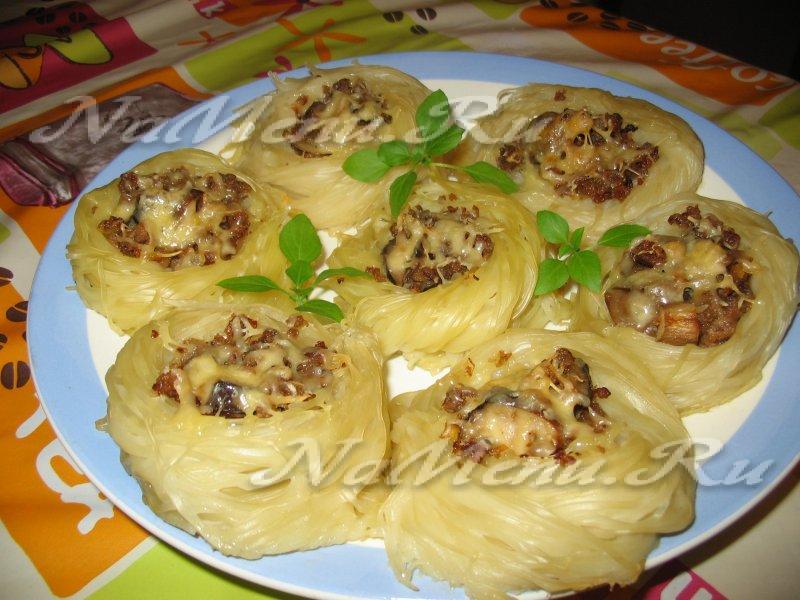 Макароны гнездо рецепт с фаршем пошаговый рецепт