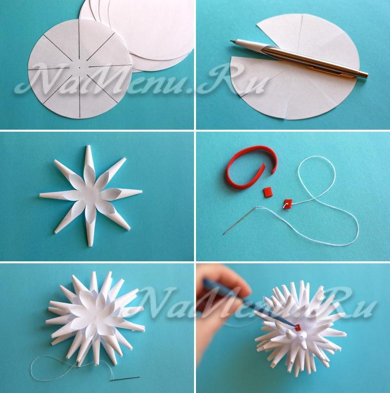 Как вырезать красивую снежинку из бумаги пошагово