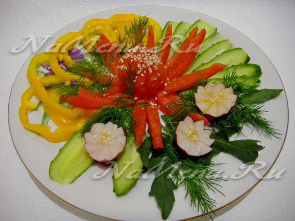 Украшение блюд овощами своими руками 83