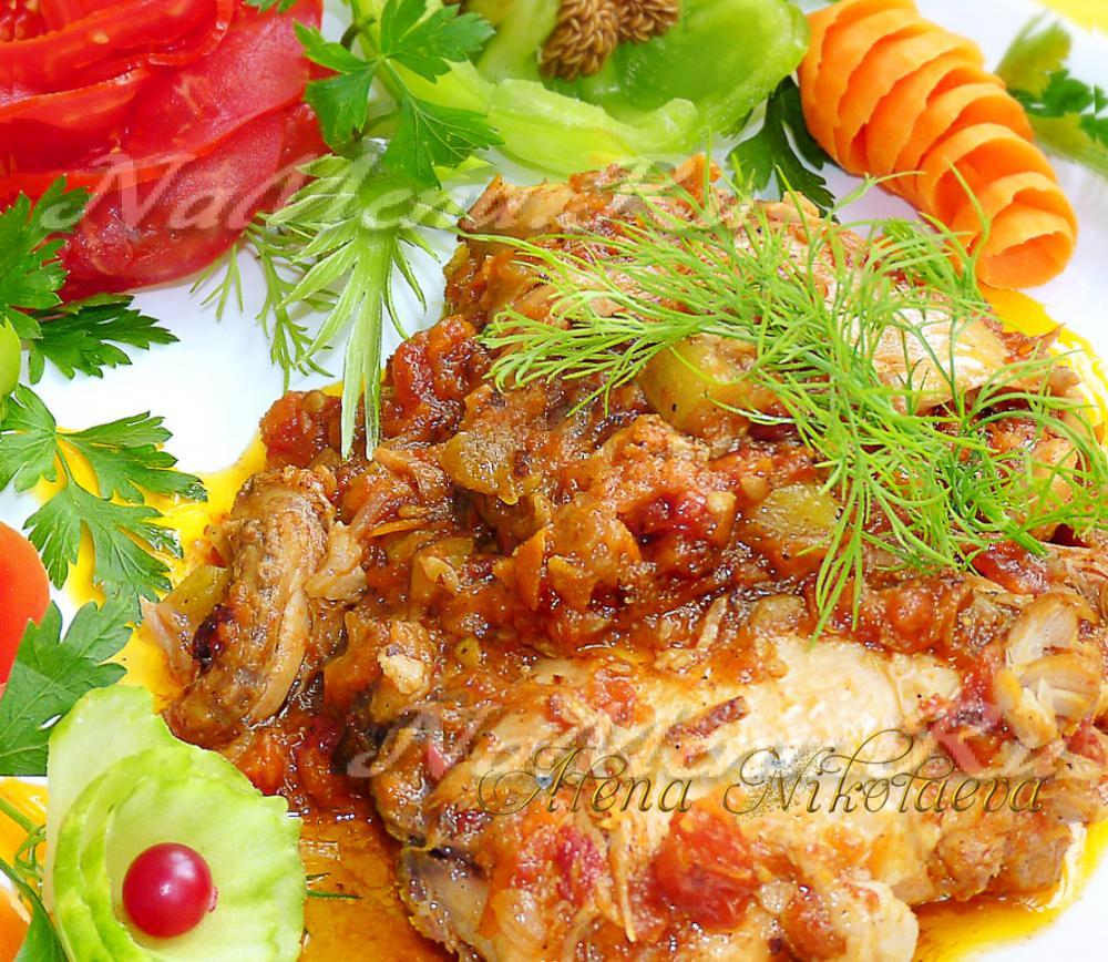 рецепт курицы тушеной с грибами в духовке