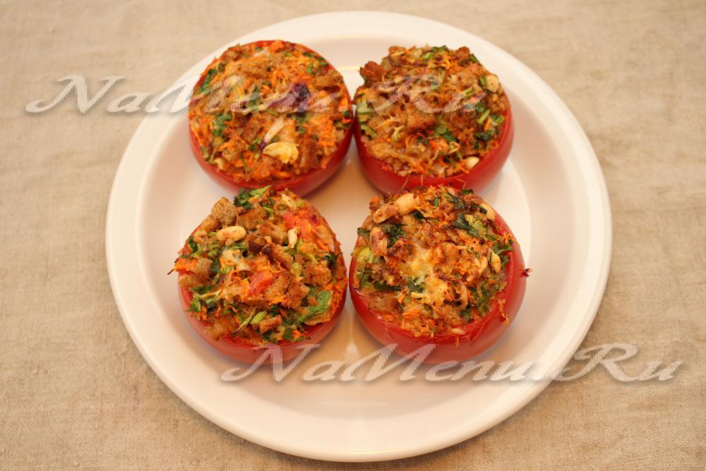 помидоры фаршированные с грибами в духовке рецепт с фото