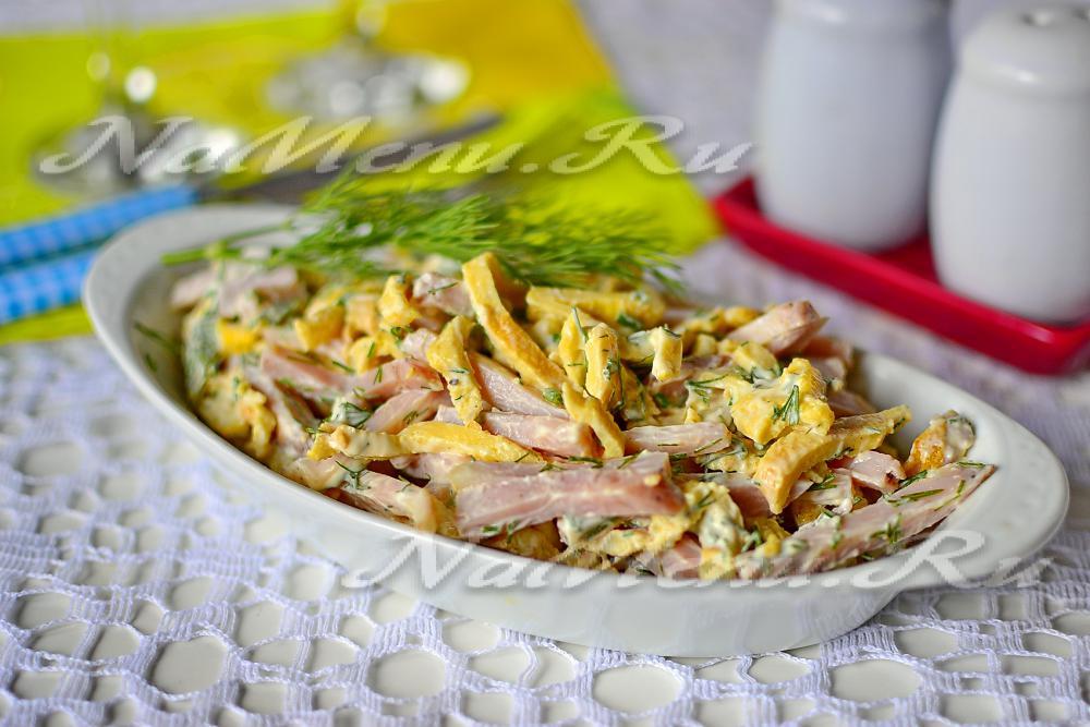 салат с яичными блинчиками рецепт с фото и курицей #11