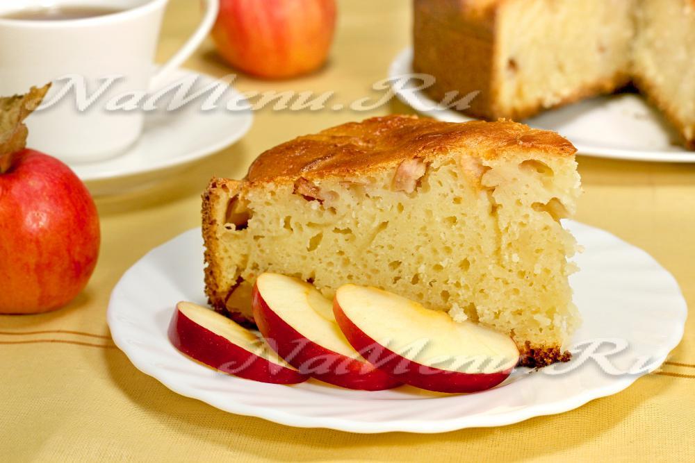 манник на кефире с яблоками пошаговый рецепт с фото в мультиварке