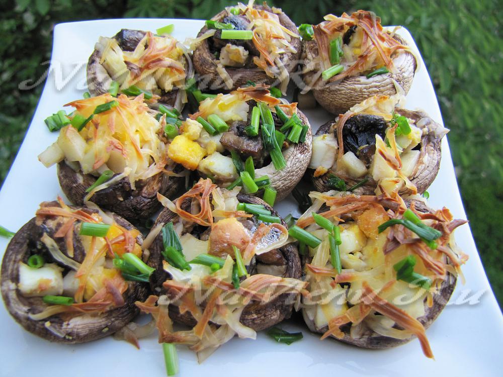 рецепт шампиньонов фаршированных курицей в духовке рецепт с фото