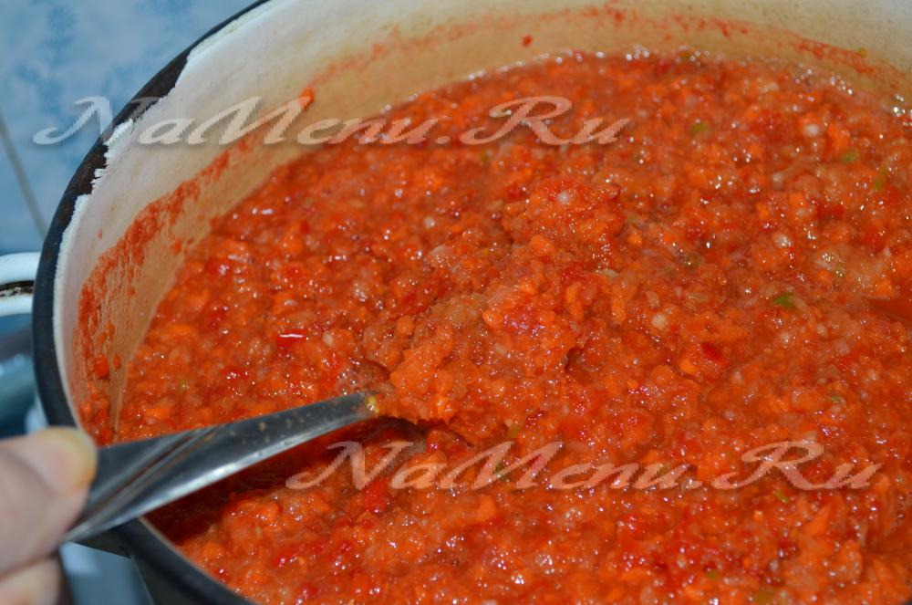 Аджика помидоры перец чеснок на зиму в домашних условиях 11
