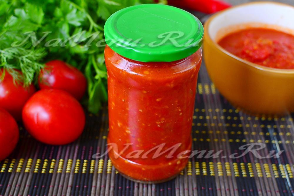 Аджика из помидор с чесноком на зиму рецепты