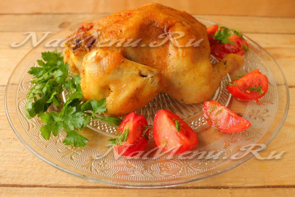 курица целиком в духовке с грибами рецепты с фото