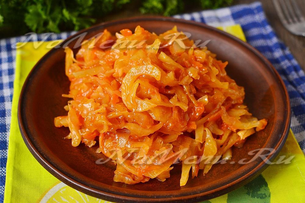 Как потушить капусту в сковороде с курицей пошаговый рецепт с в