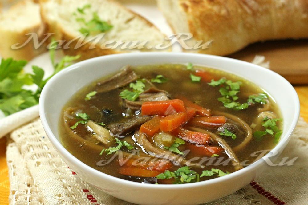 Суп из сухих грибов с лапшой рецепт с пошагово