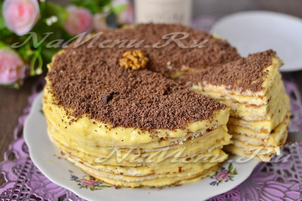 Торт минутка на сковороде со сгущенкой рецепт