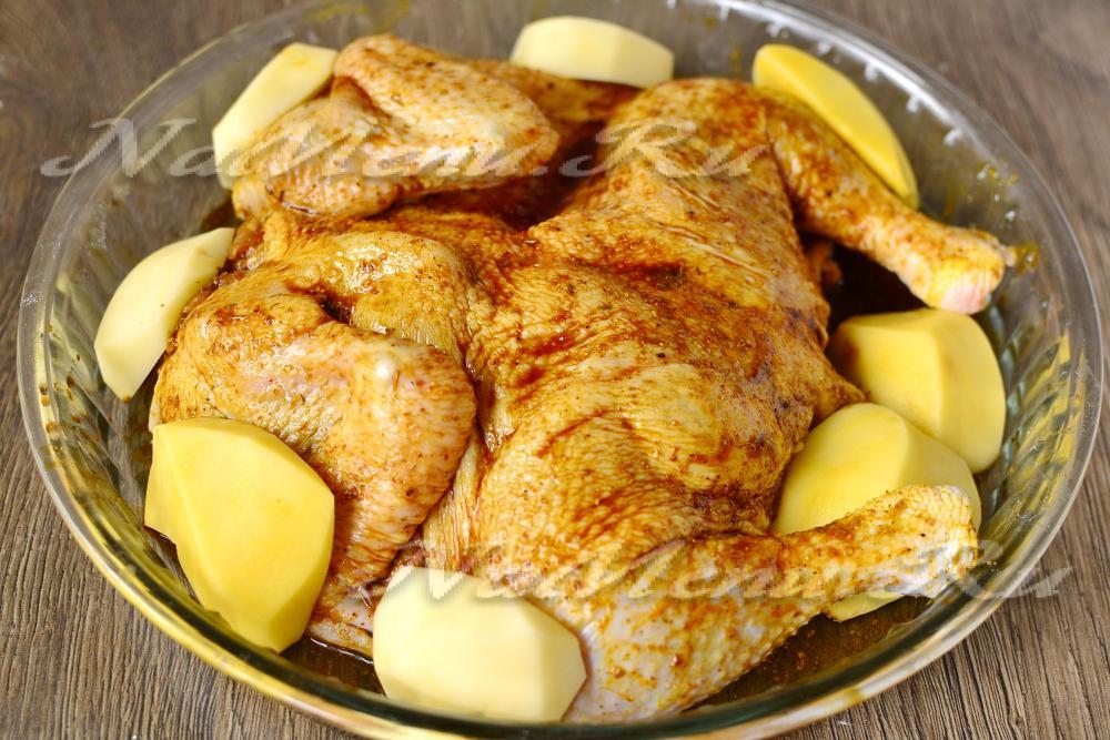 курочка с картошкой с хрустящей корочкой в духовке рецепт с фото