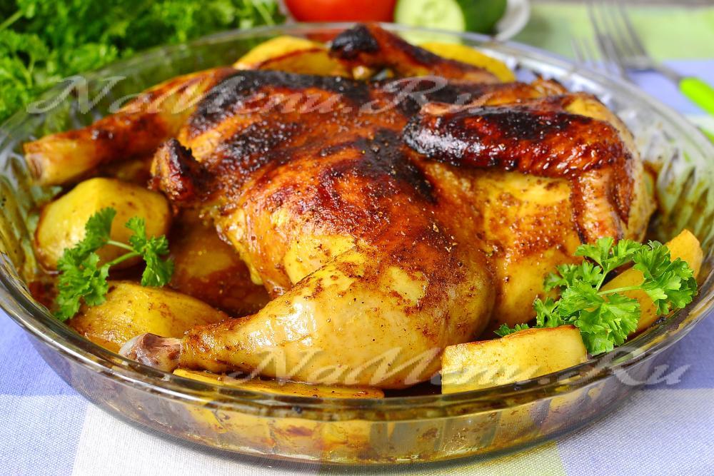 Курица в духовке целиком в медово горчичном