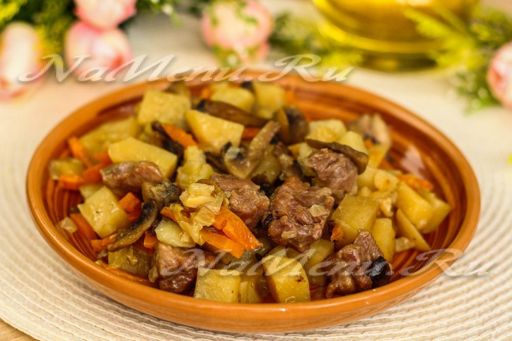 Грибы с картошкой в горшочкахы