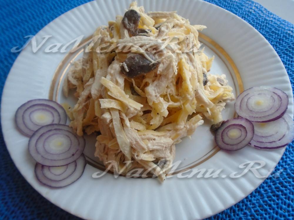 рецепт салата из горошка курицы и сыра