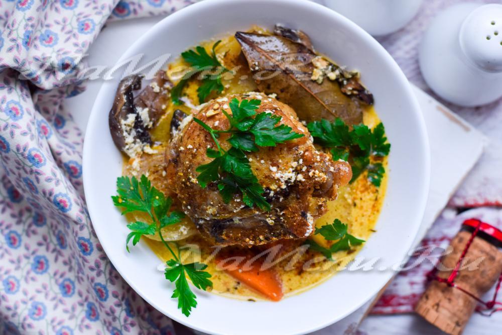 рецепт овощи в духовке с грибами и