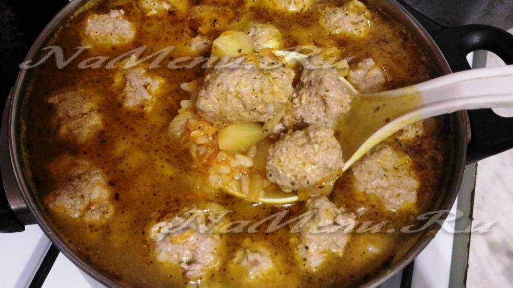 Суп с фрикадельками рецепт из фарша с рисом с пошагово в