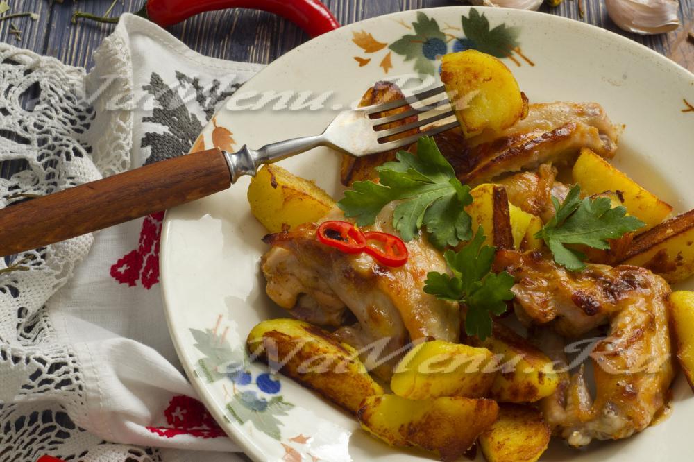 рецепт крылышек с картошкой в духовке пошаговой