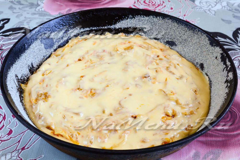 Рецепт пирога с капустой с майонезом и сметаной