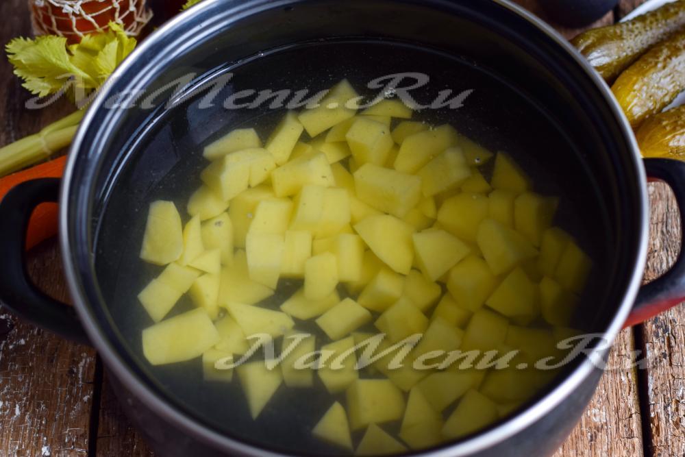 приготовление рассольника с рисом рецепт с фото