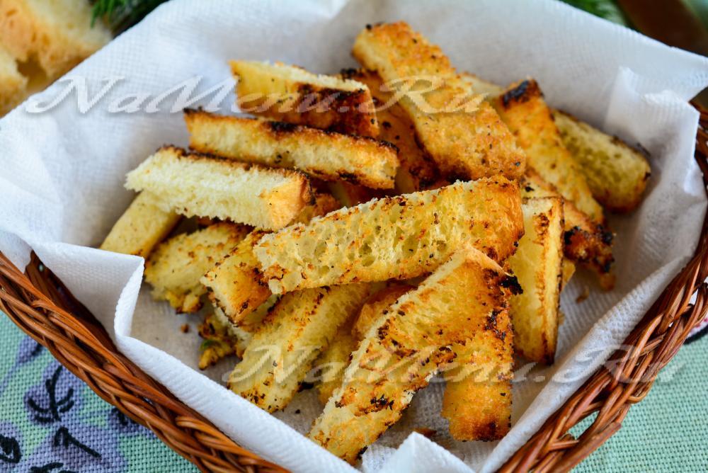 сухарики из белого хлеба в духовке рецепты видео