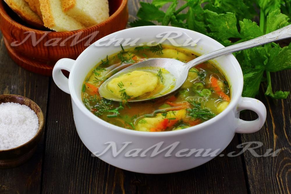 приготовления супа с галушками фото