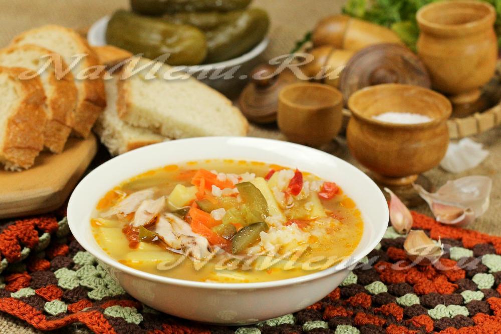 рецепт супа с рисом и огурцами