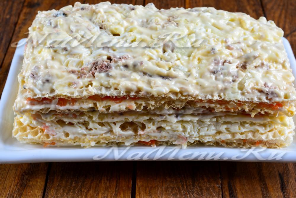 Фото рецепт закусочный торт из вафельных коржов