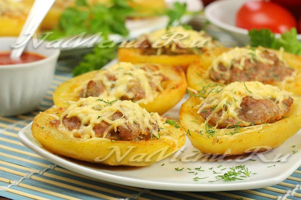 Рецепт фаршированный картофель с фаршем в духовке 86