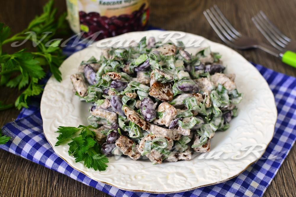 Салат с сухариками и с фасолью рецепт с очень вкусный с