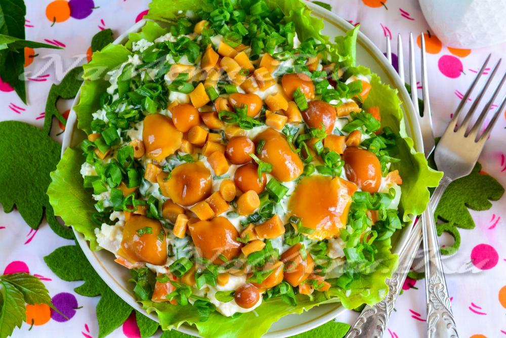 салат лесная поляна с опятами рецепт и фото