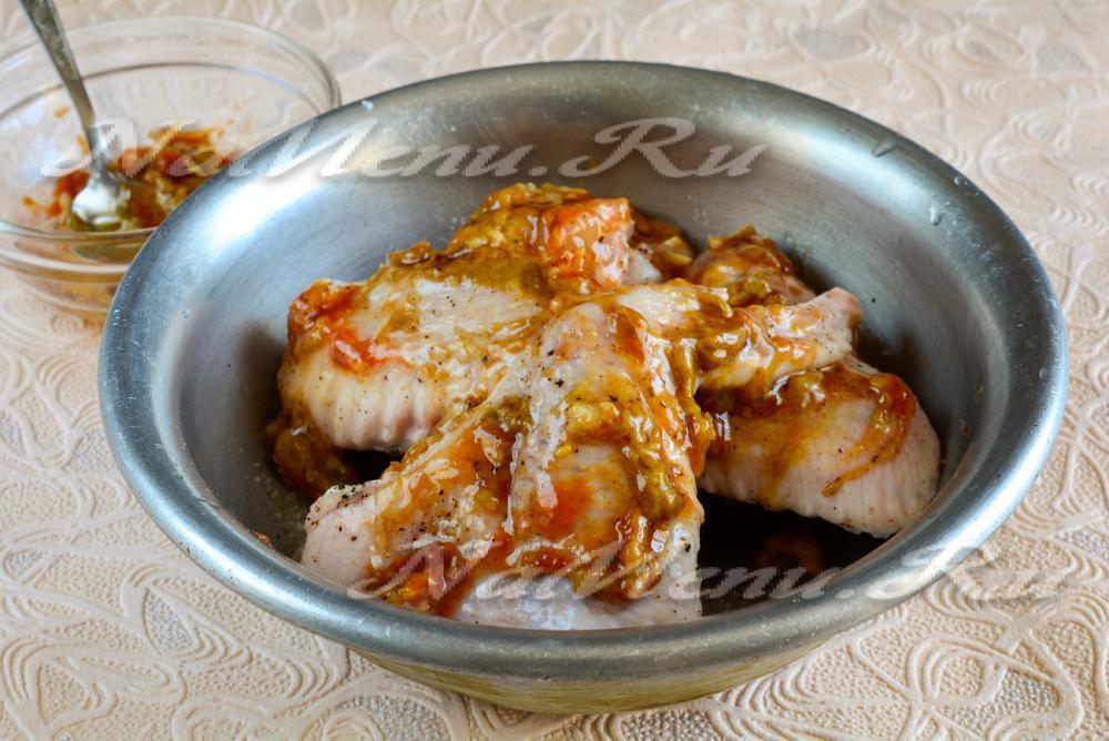 курица в соевом соусе на сковороде с медом с горчицей