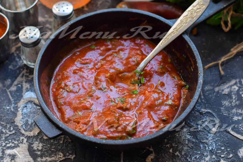 Рецепт соуса с кинзой и томатной пастой