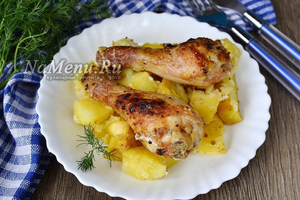 Запеченные голени с картошкой в духовке рецепт пошагово