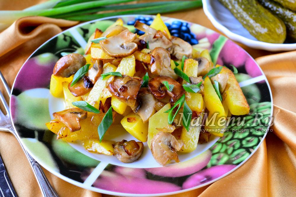 жареная картошка с грибами и луком на сковороде рецепт с фото пошагово