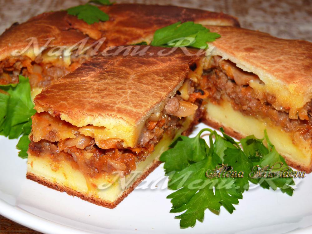 пирог с мясом и капустой простой рецепт