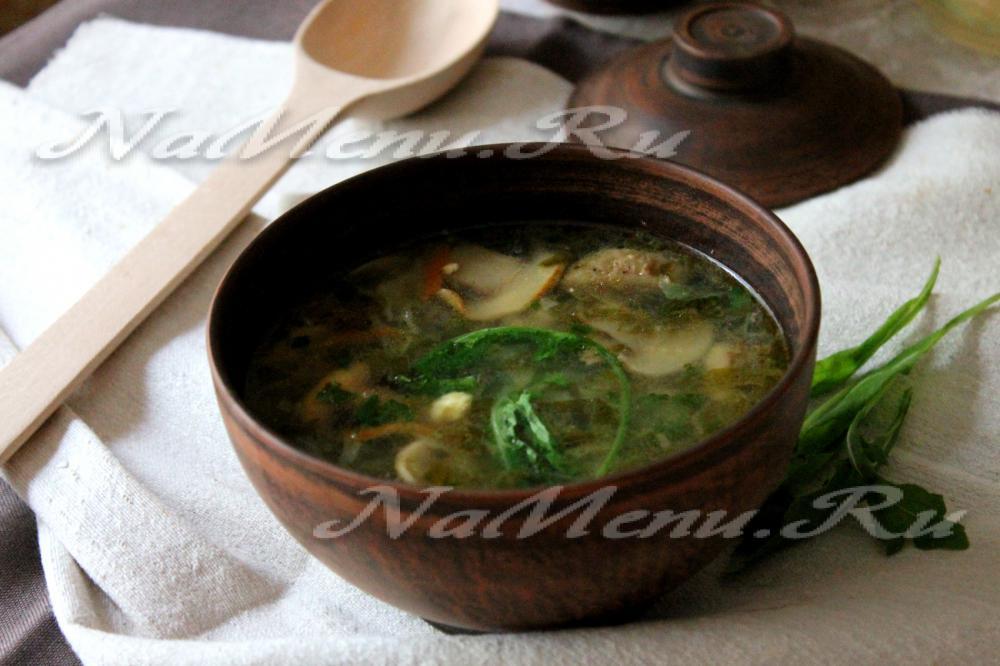 рецепт грибного супа из шампиньонов с яйцом