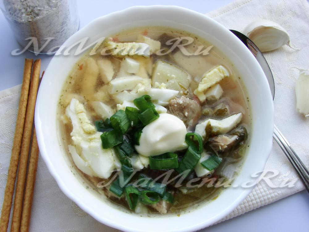 Рецепт борща с щавелем и яйцом фото