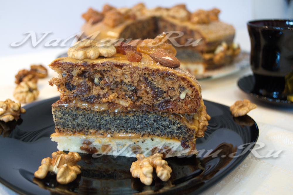 торт с маком изюмом и орехами рецепт с фото пошагово в домашних условиях