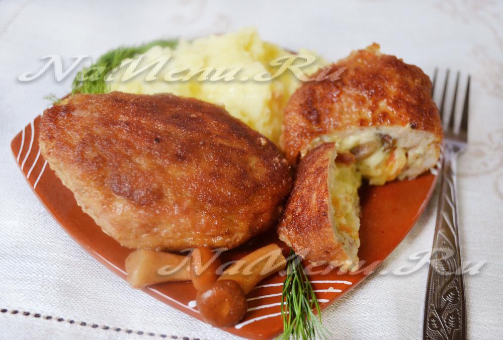 мясные котлеты с грибами и сыром рецепт