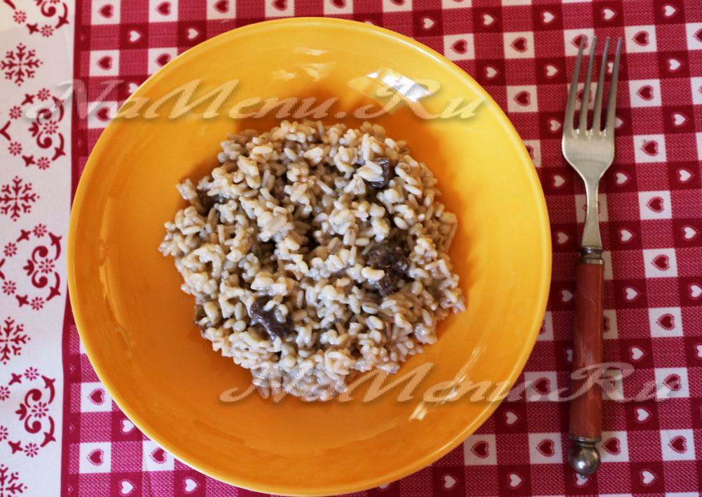 Ризотто с сухими грибами рецепт